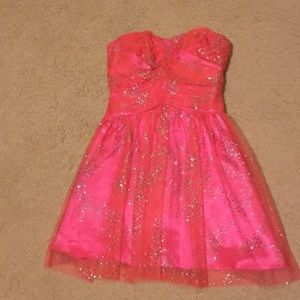 Hailey Logan coral satin and chiffon formal